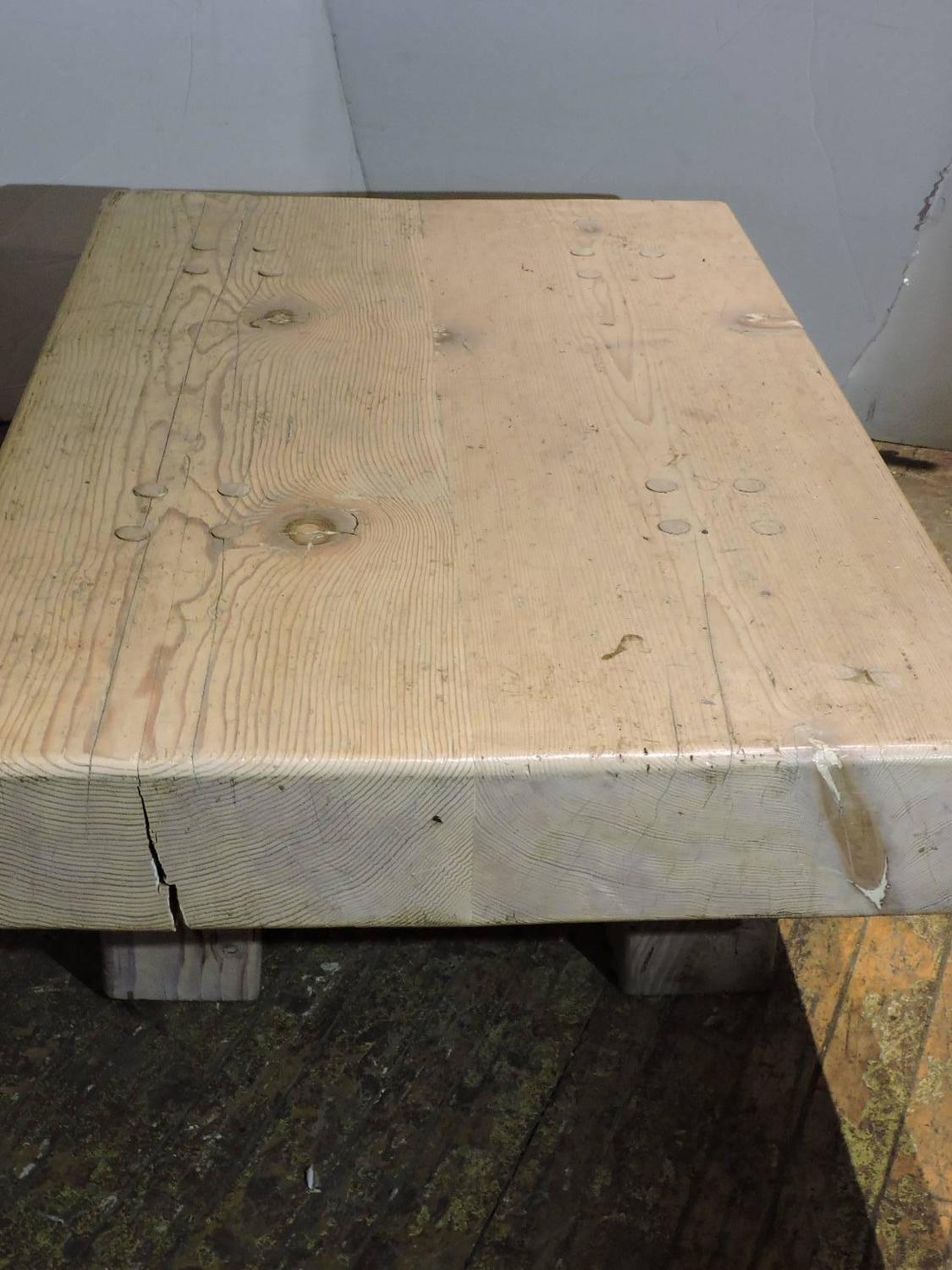 Massive Whitewashed Wood Block Coffee Table For Sale At