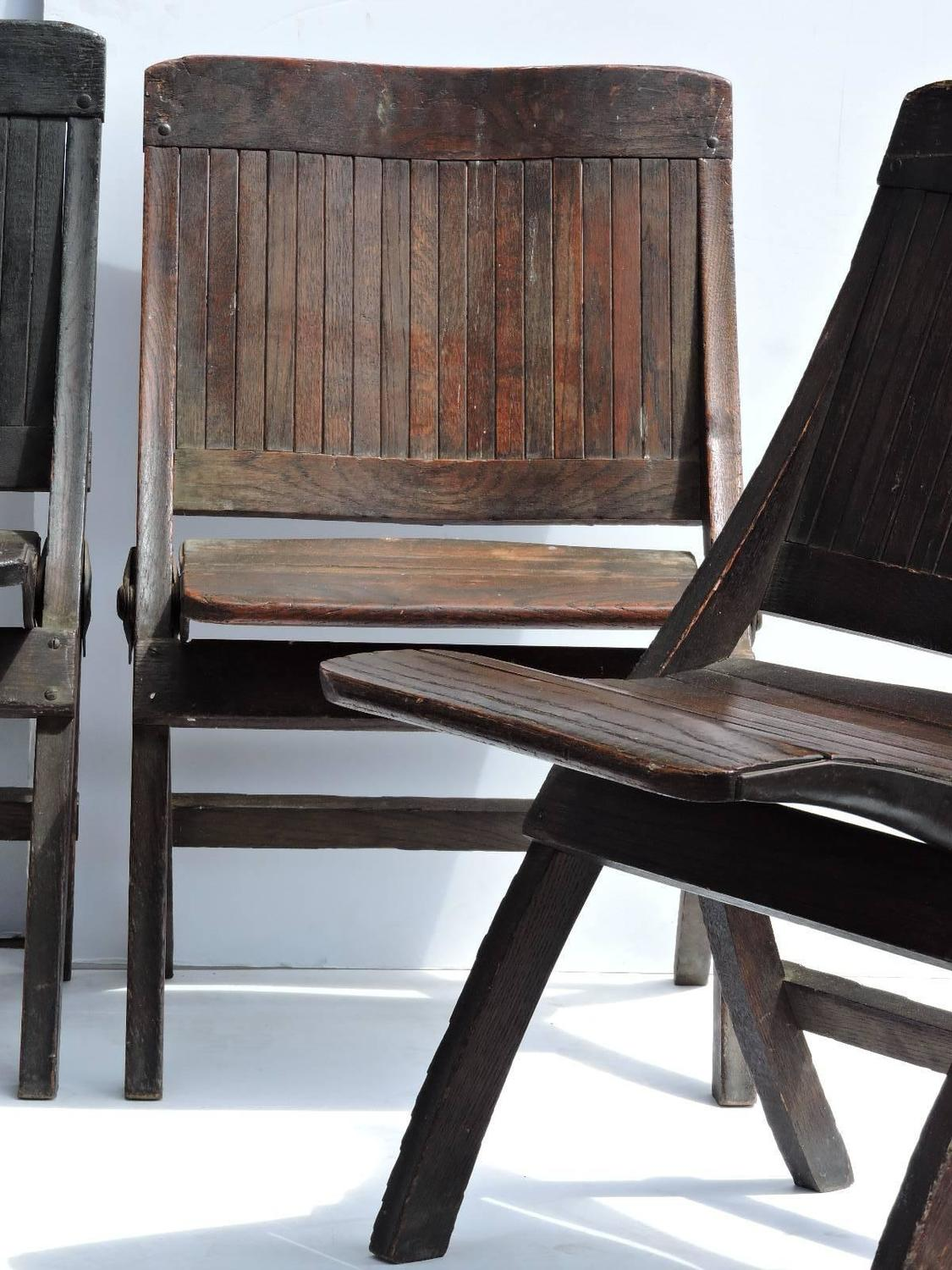 antique slatted wood and steel folding lodge chairs for sale at