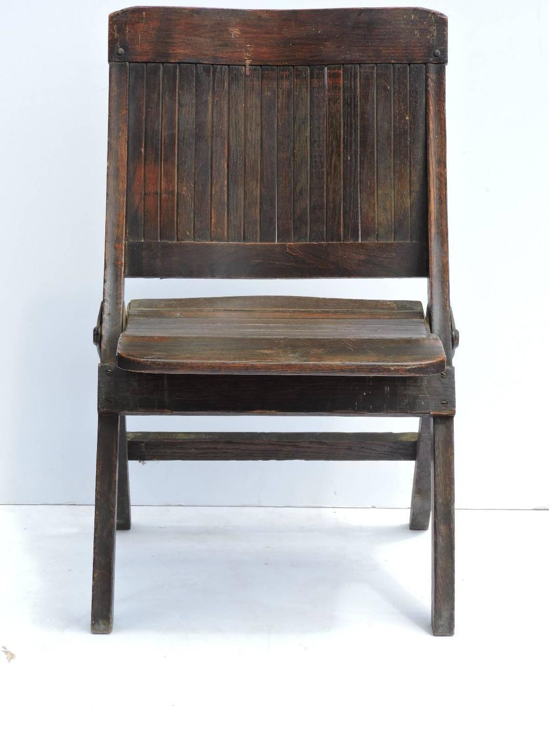 Antique Slatted Wood And Steel Folding Lodge Chairs For