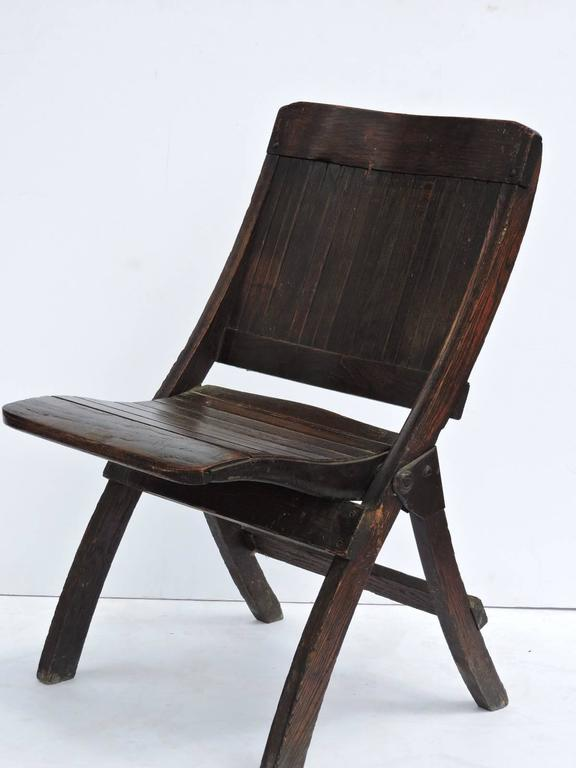 Antique Slatted Wood And Steel Folding Lodge Chairs For Sale At 1stdibs