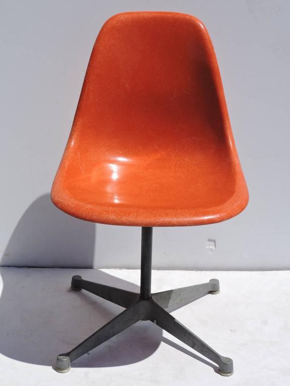 Eames For Herman Miller Orange Fiberglass Swivel Shell