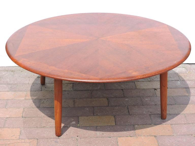 Teak Diamond Design Round Coffee Table by H W Klein for Bramin