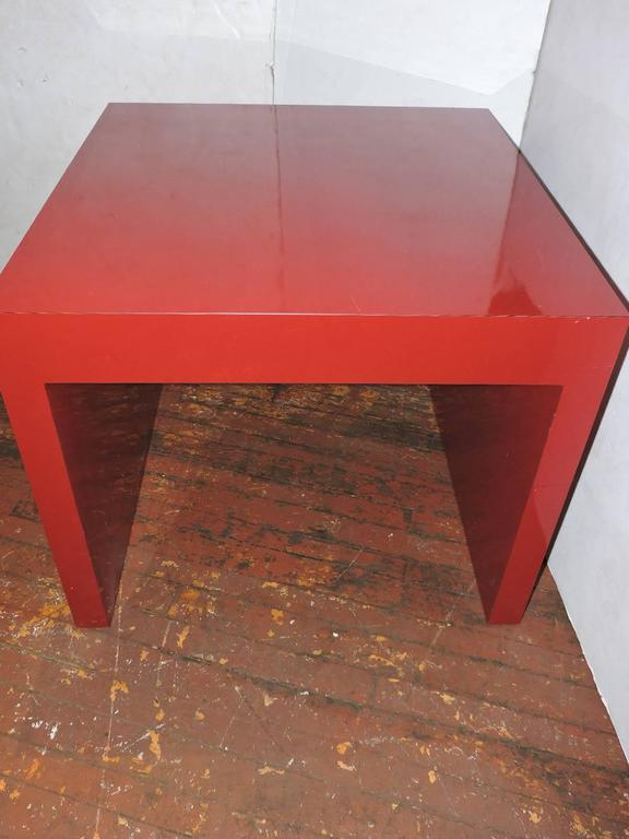 Big Cherry Red Laminate Parsons Table For Sale At 1stdibs