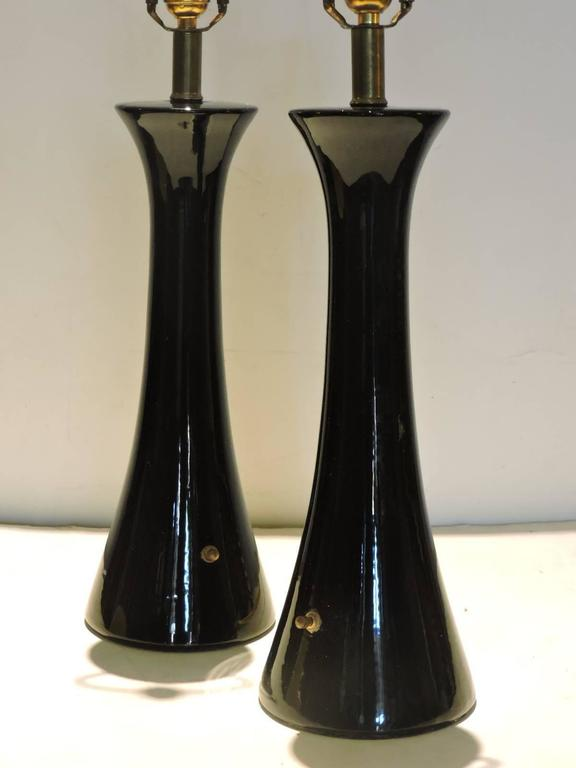 Mid-Century Streamlined Black Glazed Ceramic Lamps at 1stdibs