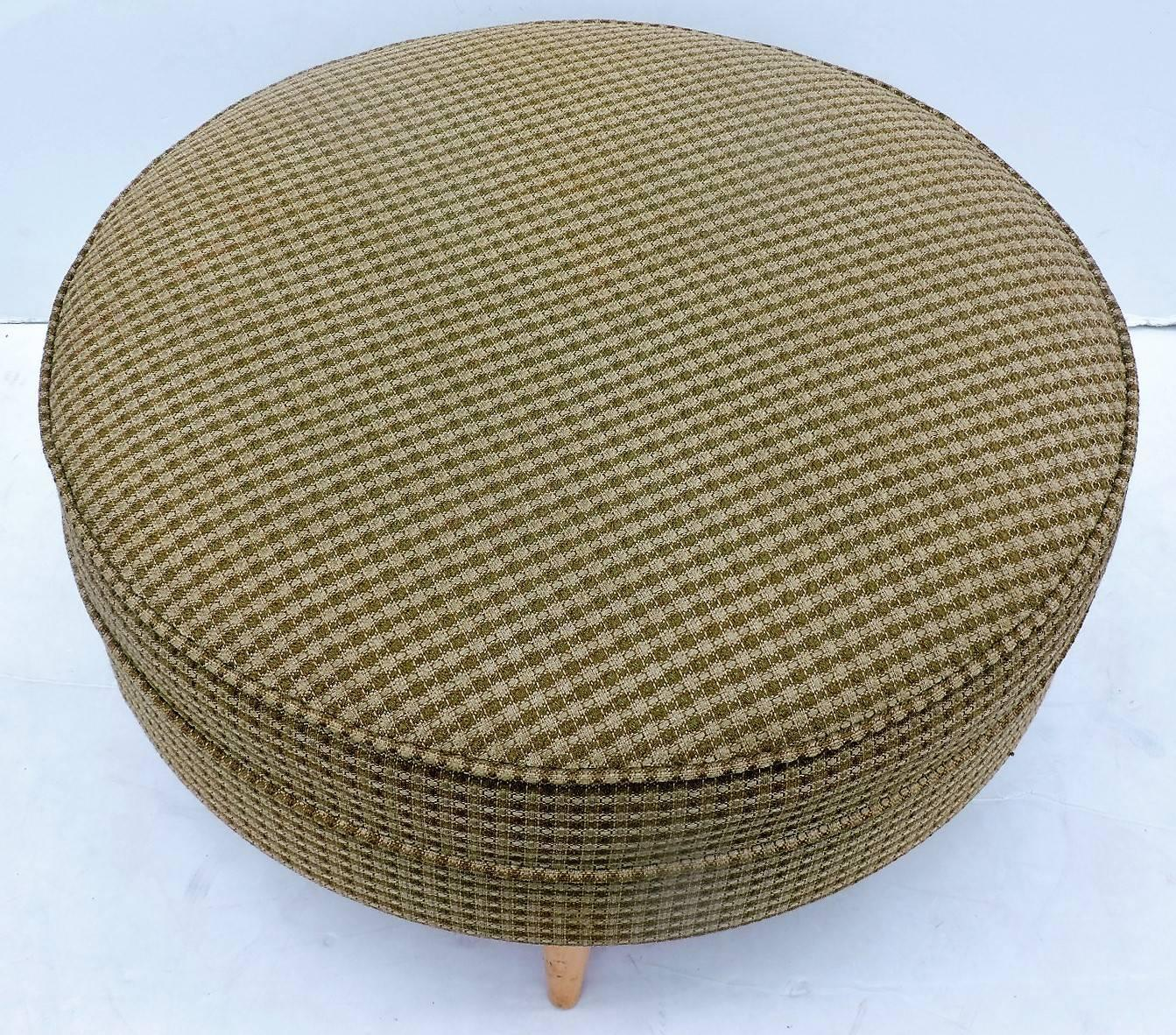 Large Round Ottoman : Mid-20th Century Big Round Ottoman Pouf For Sale at 1stdibs