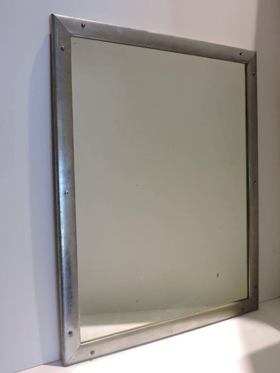 Antique Industrial Aluminum Mirror For Sale 2