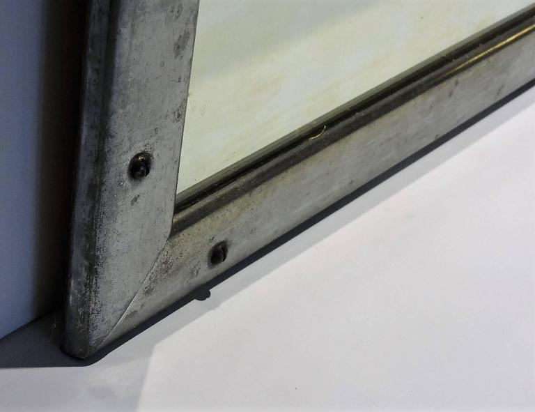 Antique Industrial Aluminum Mirror In Good Condition For Sale In Rochester, NY