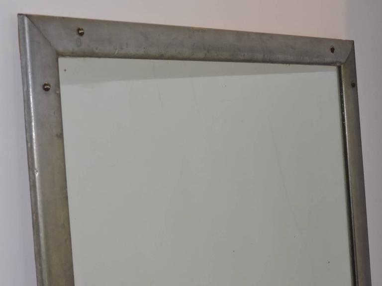 Antique Industrial Aluminum Mirror For Sale 1