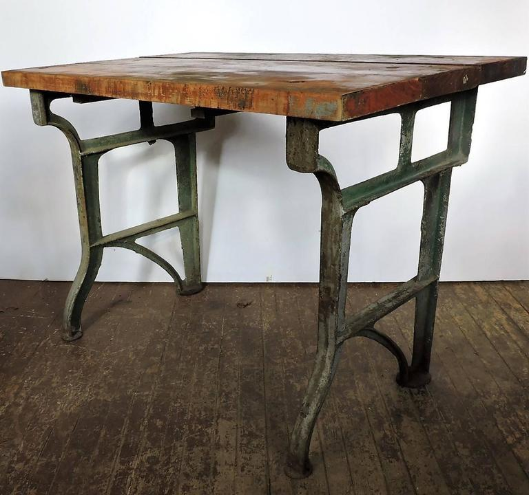 Antique American Industrial Factory Work Table Bench With Original  Architectural Cast Iron Base And Large Round