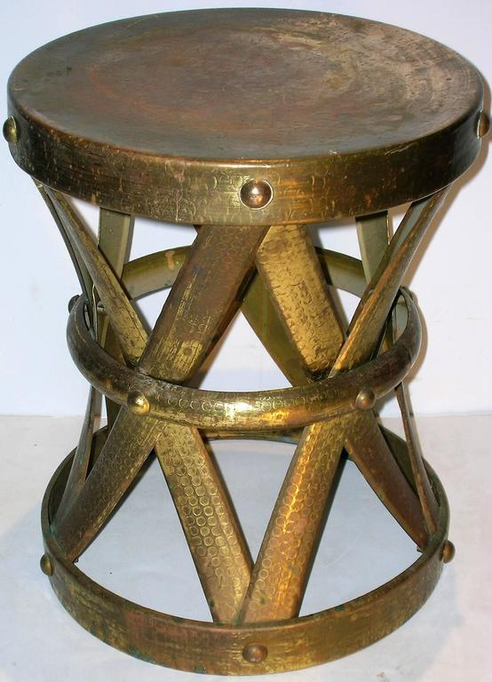 Brass X Form Drum Stool Taboret At 1stdibs