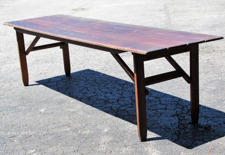 folding campaign harvest dining table for sale at 1stdibs. Black Bedroom Furniture Sets. Home Design Ideas