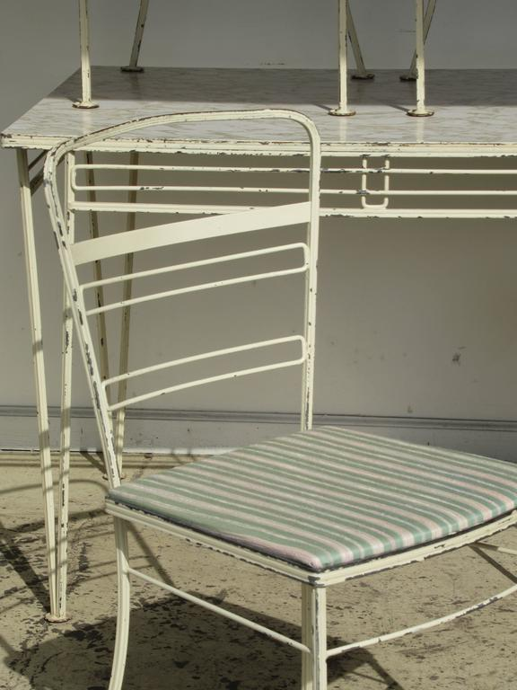 Mid Century Modern Modernist Wrought Iron Patio Set Salterini For Sale
