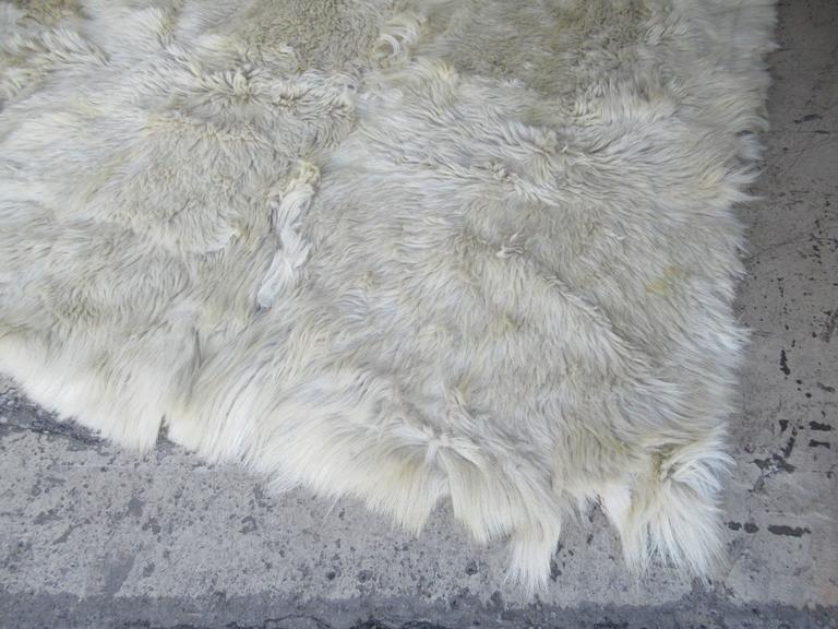 Vintage White Goat Fur Rug At 1stdibs