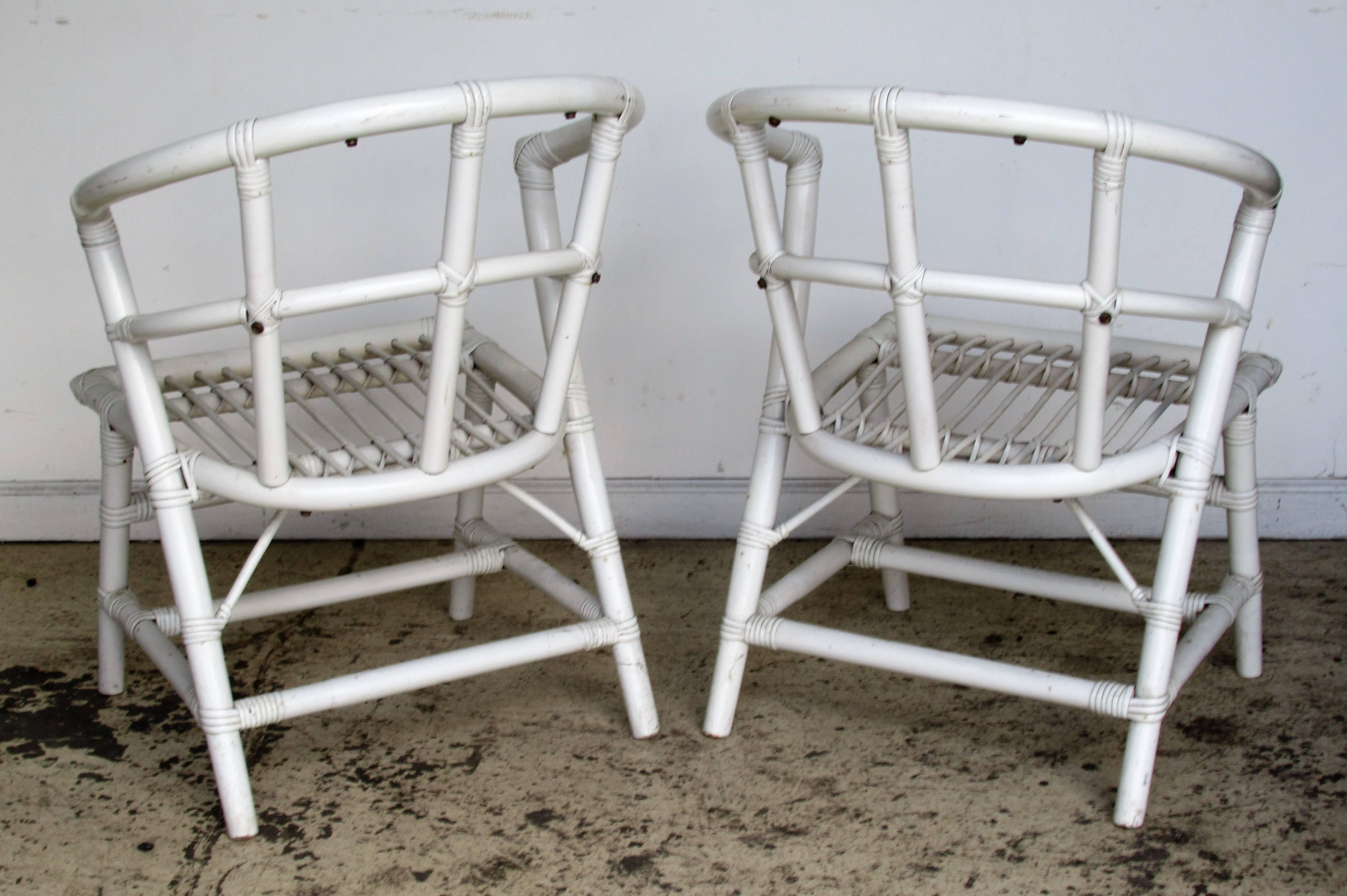 Mid Century Modern Modernist Rattan Chairs By Willow And Reed Attributed To  Tommi Parzinger For