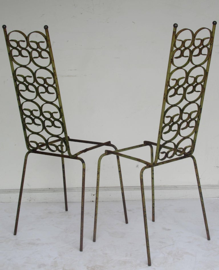 Ribbon Back Iron Chairs Arthur Umanoff For Sale At 1stdibs