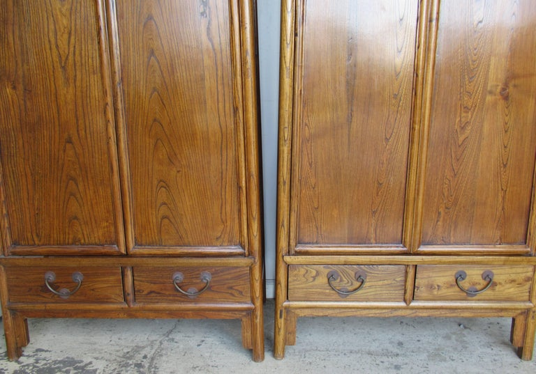 Pair of antique chinese hardwood tapered two door cabinets for 5 gorgeous pairs for antique white cabinets