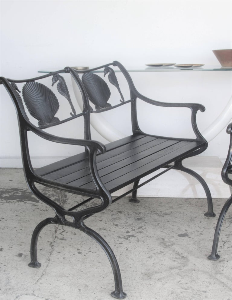 A Very Hard To Find Four Piece Antique American Cast Iron Set Of Garden Furniture
