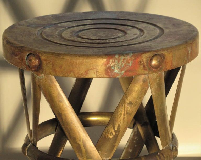 Brass X Drum Stool Taboret At 1stdibs