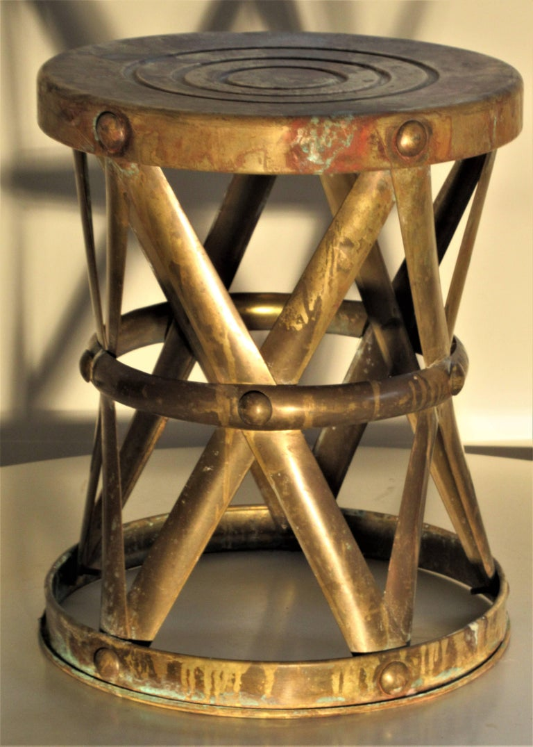 Brass X Drum Stool Taboret At 1stdibs