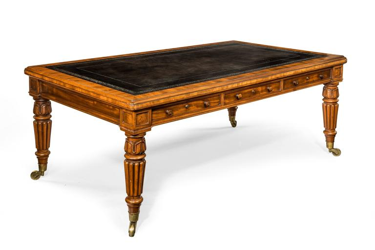 An outstanding quality King George IV period mahogany writing table or library table, of large proportions. Later leather lined inset top over six cedar-wood lined drawers with Bramah patent locks and original turned wooden knob handles. Double