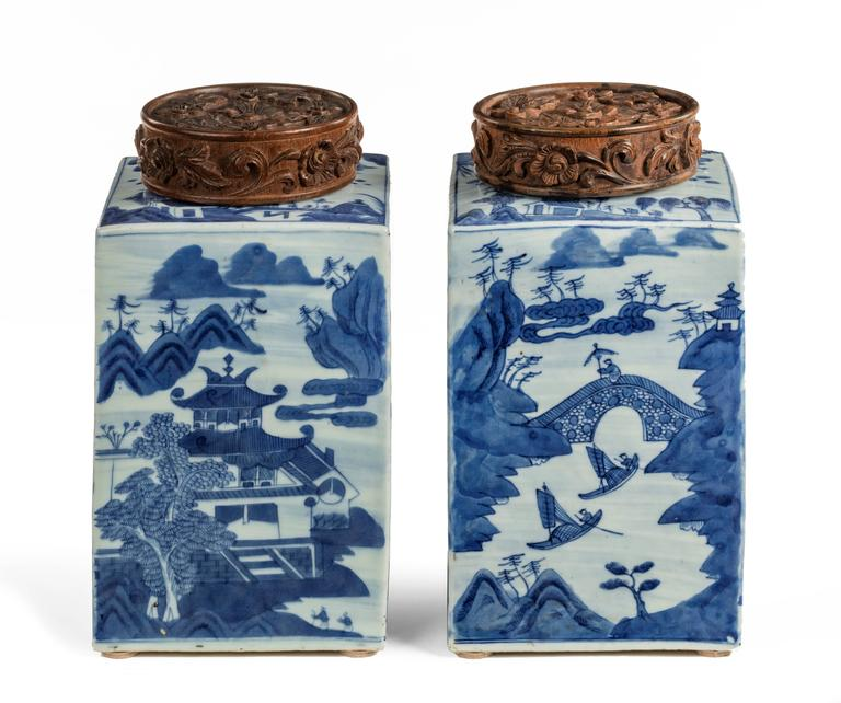 Large pair of blue and white Chinese canton tea canisters with the option of easily converting to table lamps.