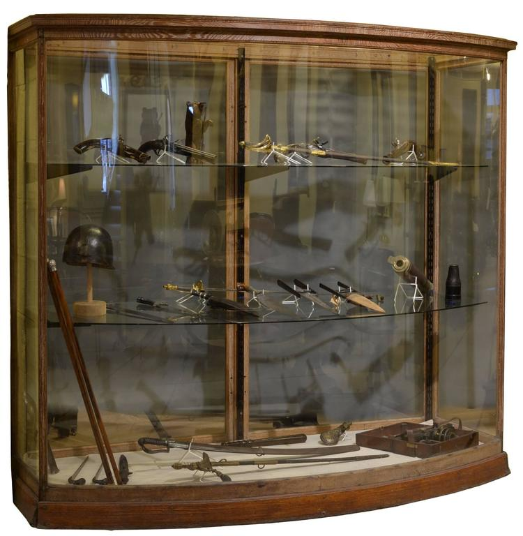 Bow Fronted Oak Framed Display Cabinet