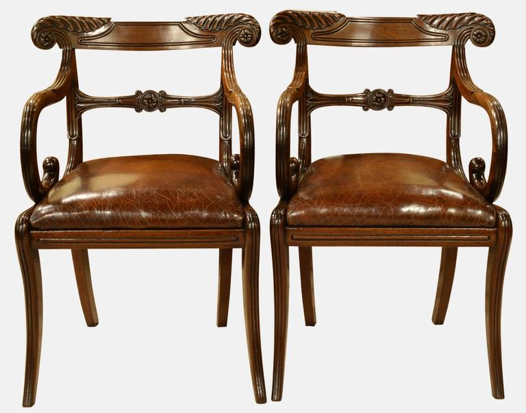 Pair of Regency Period Mahogany Carver Chairs In Excellent Condition For Sale In Salisbury, GB