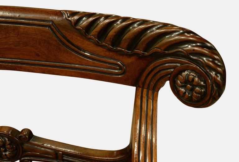 Pair of Regency Period Mahogany Carver Chairs For Sale 1