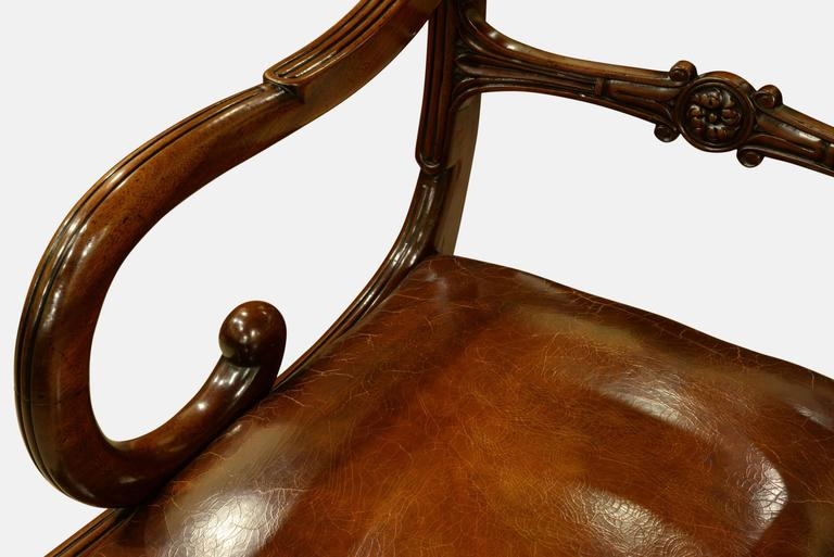 Pair of Regency Period Mahogany Carver Chairs For Sale 2