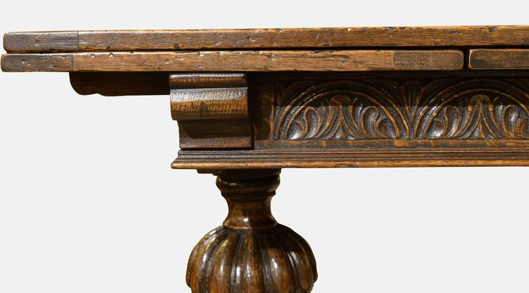Genial 20th Century Carved Oak Draw Leaf Table For Sale
