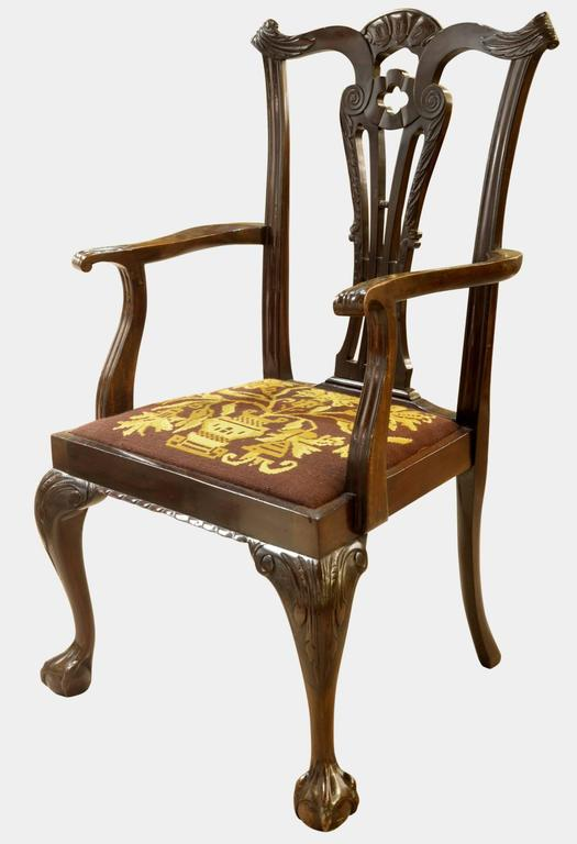 Set of eight irish chippendale style dining chairs for
