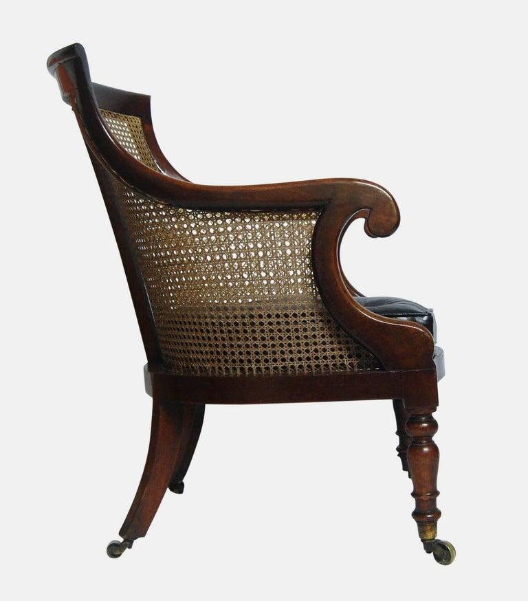 Regency Mahogany Bergere Library Tub Chair At 1stdibs