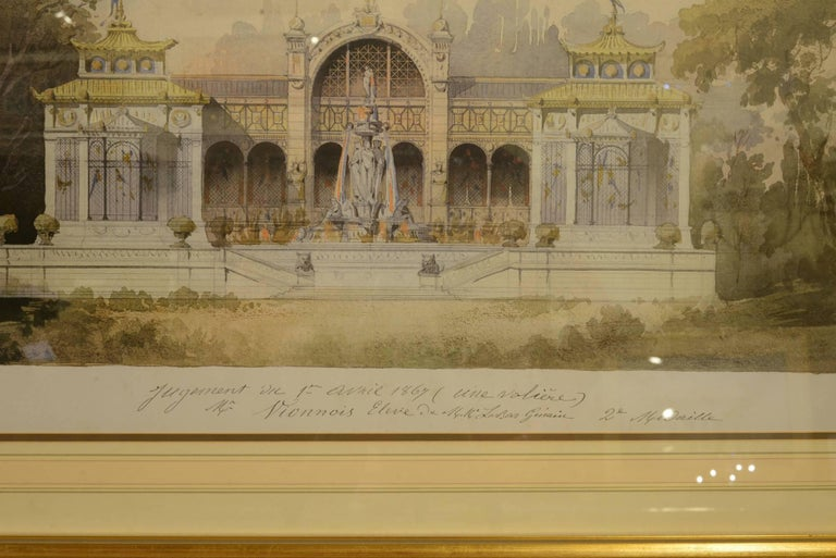 Pair of large framed architectural prints at 1stdibs for Print architectural drawings