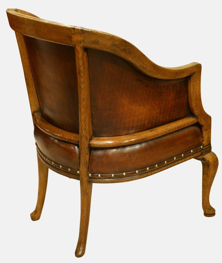 Late 19th Century Oak And Leather Tub Chair At 1stdibs