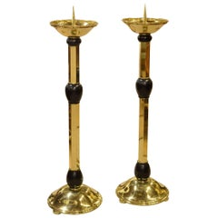 Pair of Lacquered Brass Candlesticks