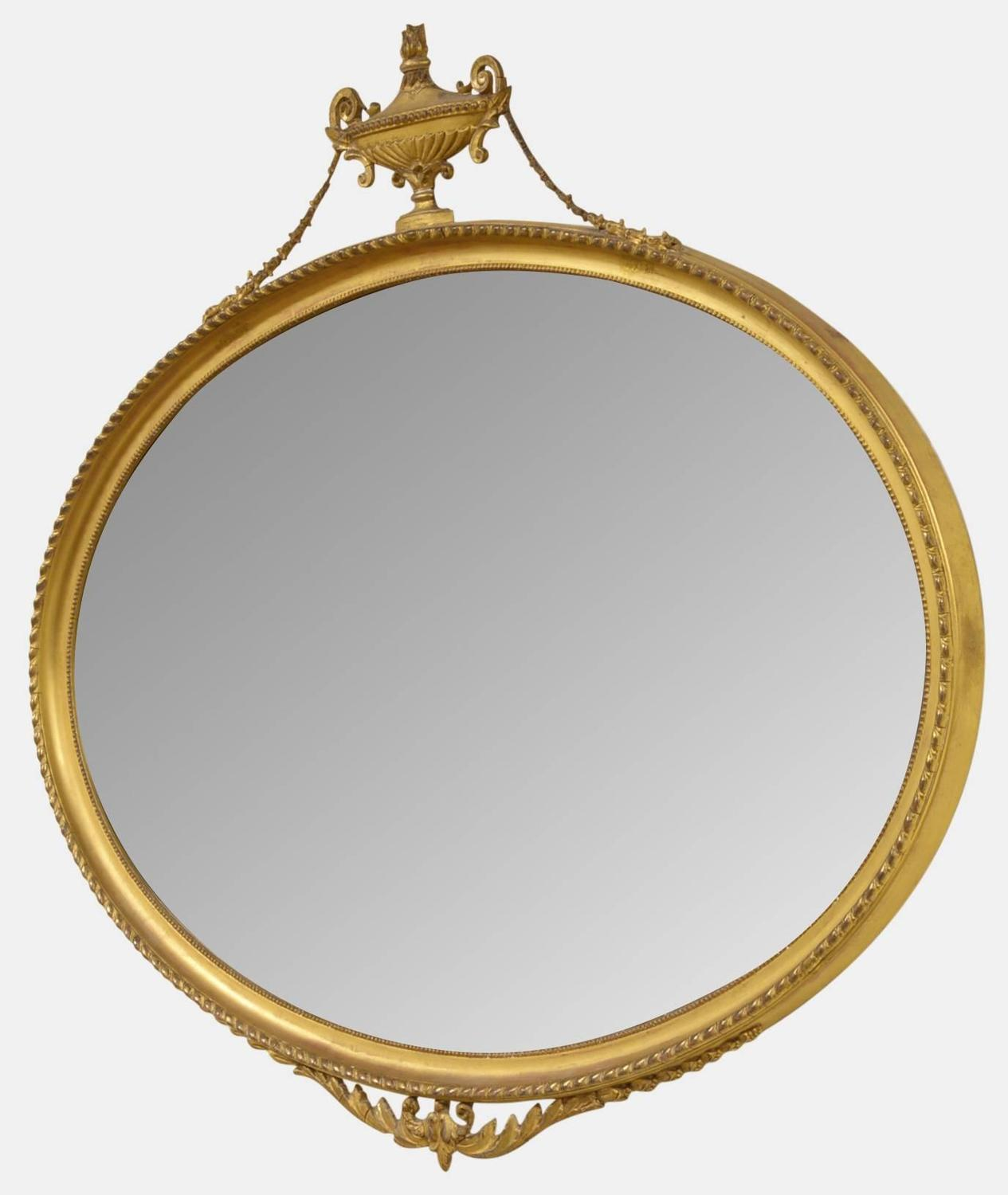 Adam style oval giltwood and gesso mirror at 1stdibs for Adam style mirror
