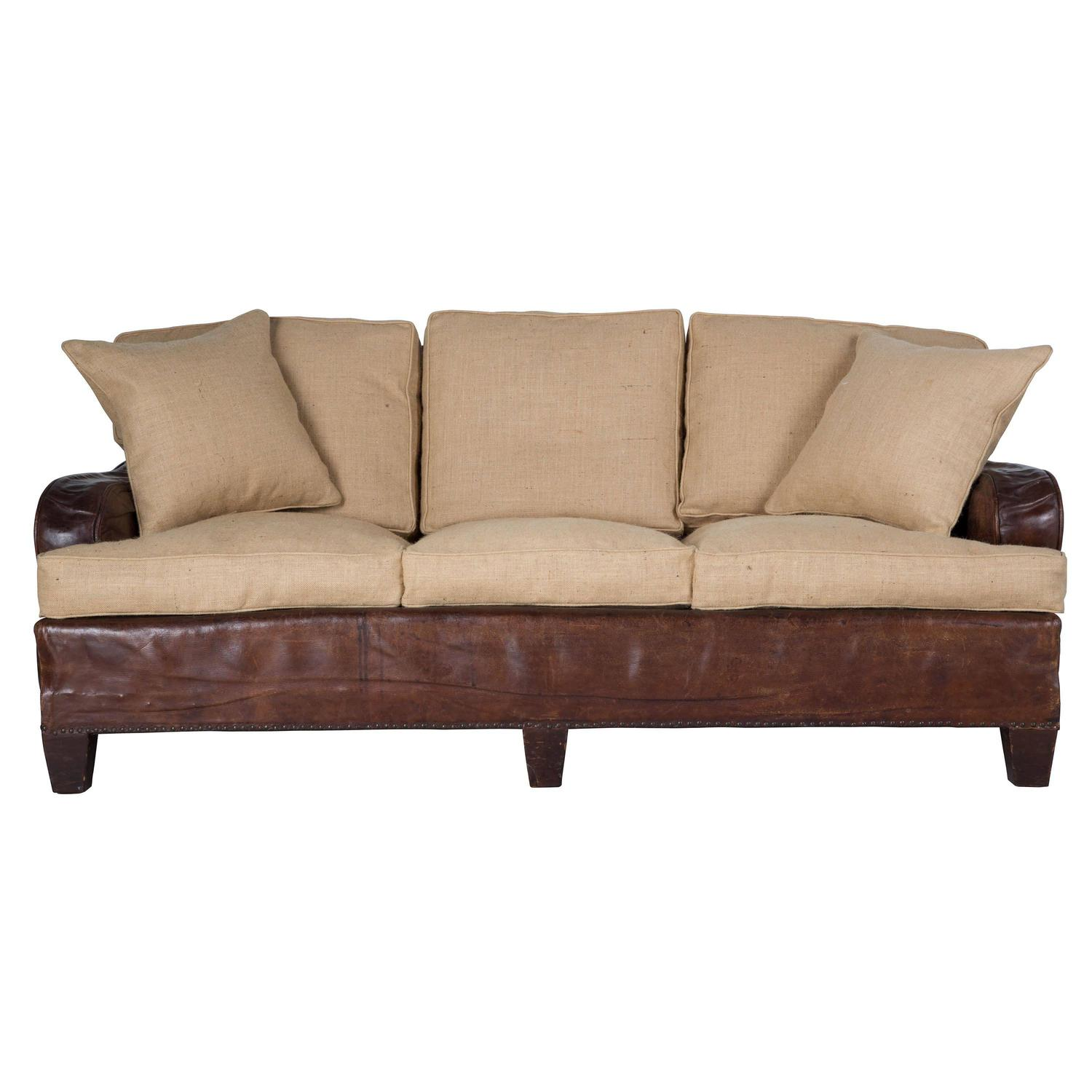 Reupholstered three seat leather sofa at 1stdibs Reupholster loveseat