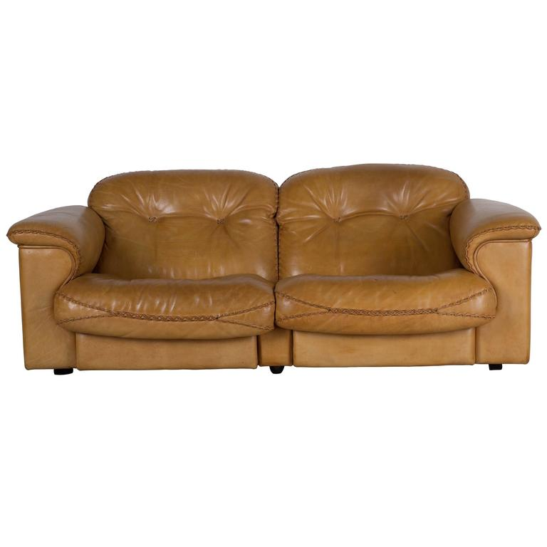 1970s Leather Reclining Sofa