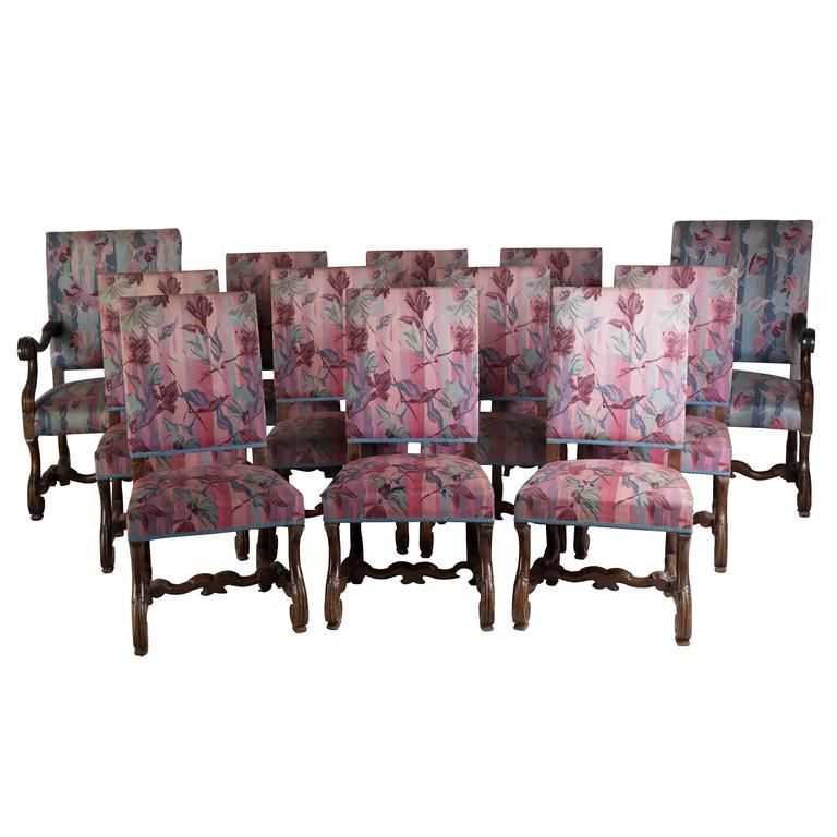 12 carved walnut spanish dining chairs for sale at 1stdibs