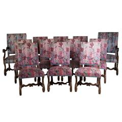 12 Carved Walnut Spanish Dining Chairs