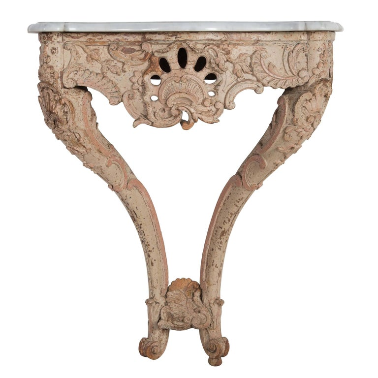 Marble Topped Console Table For Sale