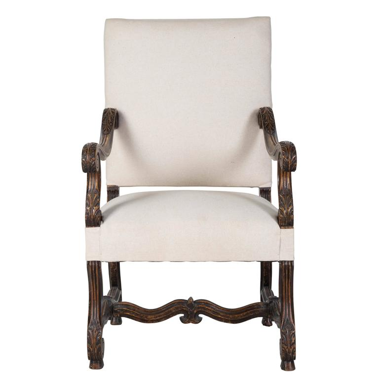Charmant 19th Century French Linen Chair For Sale