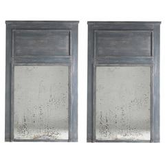 Pair of Grey Painted French Trumeau Mirrors, circa 1920s