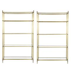 Rare Pair of Brass and Glass Display Shelves