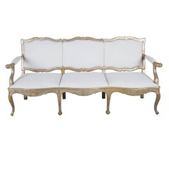 18th Century Italian Sofa in Original Silver Leaf