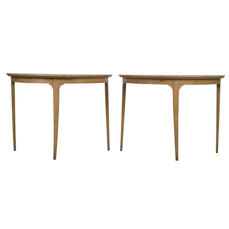 Pair of Swedish Demilune Tables