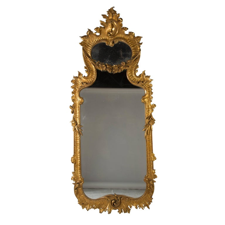 Large Early 19th Century Italian Mirror in Rococo Style