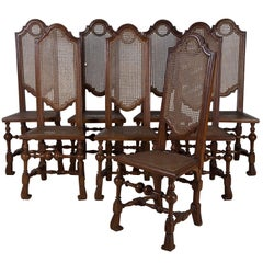 Set of Eight Pine Dining Chairs