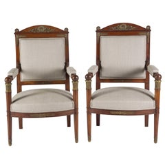 Pair of Mahogany Fauteuils