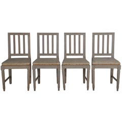 Four Painted Gustavian Dining Chairs
